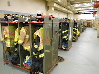 Fire Station gear in closets