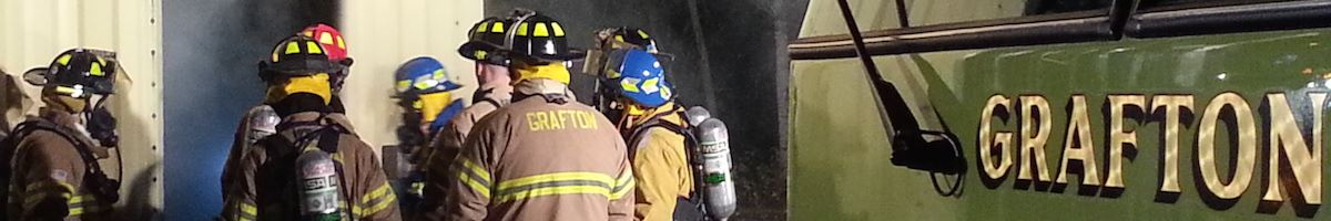 Firefighters on site with gear